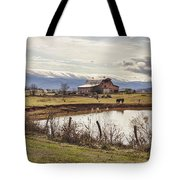 Mountain View Barn Tote Bag by Heather Applegate