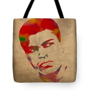 Muhammad Ali Watercolor Portrait On Worn Distressed Canvas Tote Bag by Design Turnpike