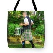 Music - Drummer In Pipe Band Tote Bag by Susan Savad