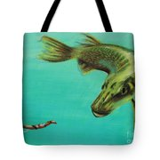 Muskie And The Lure Tote Bag by Jeanne Fischer