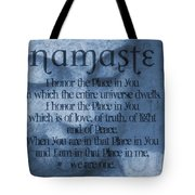Namaste Blue Tote Bag by Dan Sproul