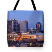 Nashville Skyline At Dusk Panorama Color Tote Bag by Jon Holiday