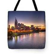 Nashville Skyline Panorama Tote Bag by Brett Engle