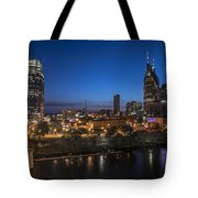 Nashville Tennessee With Pedestrian Bridge  Tote Bag by John McGraw