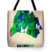 Nashville Watercolor Map Tote Bag by Naxart Studio