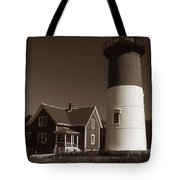 Nauset Lighthouse Tote Bag by Skip Willits