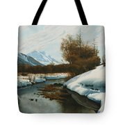 Near La Punt St Morritz In The Engadine Valley Tote Bag by Peder Monsted