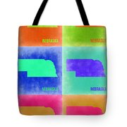 Nebraska Pop Art Map 2 Tote Bag by Naxart Studio