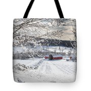 New England Winter Farms Square Tote Bag by Bill  Wakeley
