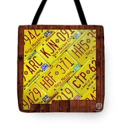 New Mexico State License Plate Map Tote Bag by Design Turnpike