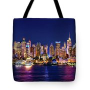 New York City Nyc Midtown Manhattan At Night Tote Bag by Jon Holiday