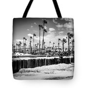 Newport Beach Dory Fishing Fleet Black And White Picture Tote Bag by Paul Velgos