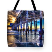 Newport Beach Pier - Low Tide Tote Bag by Jim Carrell