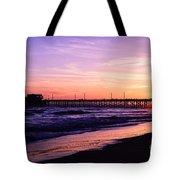 Newport Beach Pier Sunset In Orange County California Tote Bag by Paul Velgos