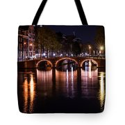 Night Lights On The Amsterdam Canals 4. Holland Tote Bag by Jenny Rainbow