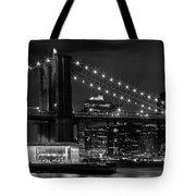 Night-skyline New York City Bw Tote Bag by Melanie Viola
