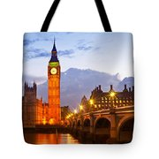 Nightly View - Houses Of Parliament Tote Bag by Melanie Viola