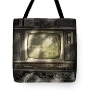 No One's Watching - Vintage Television in an old barn Tote Bag by Gary Heller