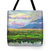 Nomad - Alaska Landscape With Joe Redington's Boat In Knik Alaska Tote Bag by Talya Johnson