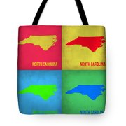 North Carolina Pop Art Map 1 Tote Bag by Naxart Studio