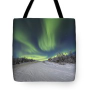 Northern Lights Dancing Over The James Tote Bag by Lucas Payne