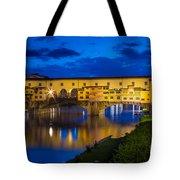 Notte A Ponte Vecchio Tote Bag by Inge Johnsson