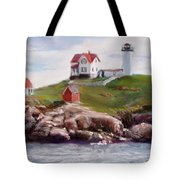 Nubble Lighthouse in Pastel Tote Bag by Jack Skinner