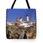 Nubble's Rocky Coastline Tote Bag by Joann Vitali