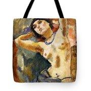 Nude Brunette With Blue Necklace Nu La Brune Au Collier Bleu Tote Bag by Jules Pascin
