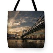 Nyc - Manhatten Bridge - Hdr- Sun Tote Bag by Hannes Cmarits