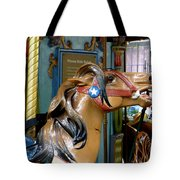 Nyc - Horsing Around In Bryant Park Tote Bag by Richard Reeve