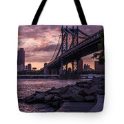 Nyc- Manhatten Bridge At Night Tote Bag by Hannes Cmarits