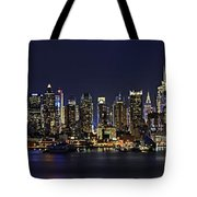 Nyc Skyline Full Moon Panorama Tote Bag by Susan Candelario