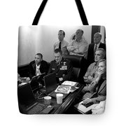 Obama In White House Situation Room Tote Bag by War Is Hell Store