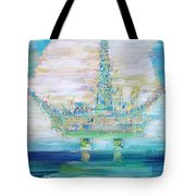 OIL PLATFORM Tote Bag by Fabrizio Cassetta
