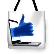 Okay Gesture Blue Hand From Screen Tote Bag by Michal Bednarek