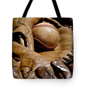 Old Baseball Ball And Gloves Tote Bag by Art Block Collections