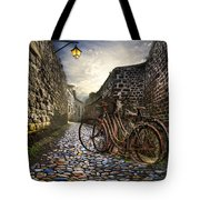 Old Bicycles On A Sunday Morning Tote Bag by Debra and Dave Vanderlaan