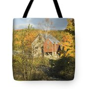OLd Buildings and Fall Colors in Vienna Maine Tote Bag by Keith Webber Jr