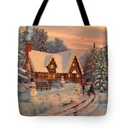 Old Christmas Cottage Tote Bag by Dominic Davison