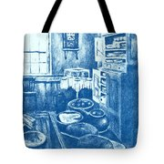 Old Fashioned Kitchen In Blue Tote Bag by Kendall Kessler