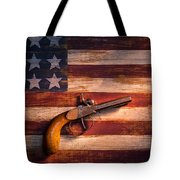 Old Gun On Folk Art Flag Tote Bag by Garry Gay