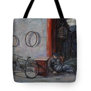 Old Man And His Bike Tote Bag by Xueling Zou