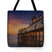 Old Orchard Beach Pier Sunset Tote Bag by Susan Candelario