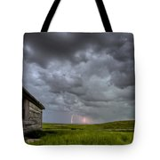Old School House And Lightning Tote Bag by Mark Duffy