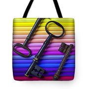 Old Skeleton Keys On Rows Of Colored Pencils Tote Bag by Garry Gay