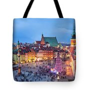 Old Town In Warsaw At Evening Tote Bag by Artur Bogacki