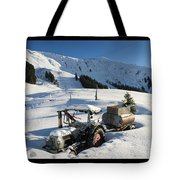 Old Tractor In Winter With Lots Of Snow Waiting For Spring Tote Bag by Matthias Hauser