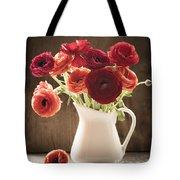 Orange And Red Ranunculus Flowers Tote Bag by Jan Bickerton