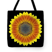 Orange and Yellow Sunflower Flower Mandala Tote Bag by David J Bookbinder
